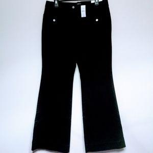 Ann Taylor Loft Cotton Pants Black Curvy Flare 8